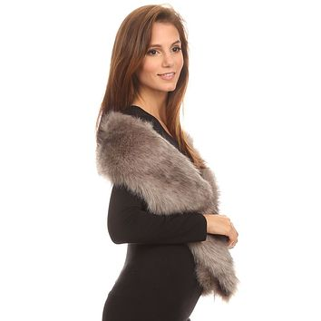 Faux Fur Stole, Black or Gray