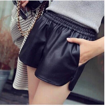 S-XXL 2016 New PU Leather Shorts Women's Black High Quality Short Pants With Pockets Loose Casual Shorts DK6162