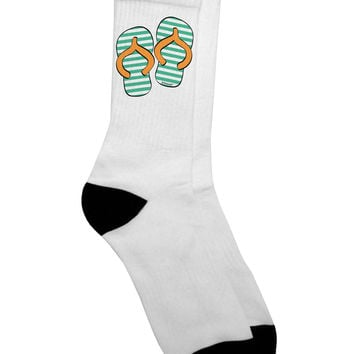 Striped Flip Flops - Teal and Orange Adult Crew Socks