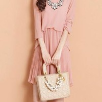 Pink Pleated Puff Sleeve Chiffon Dress XX0005
