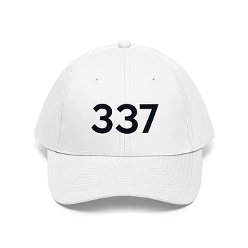 Louisiana 337 Area Code Embroidered Twill Hat BLACK