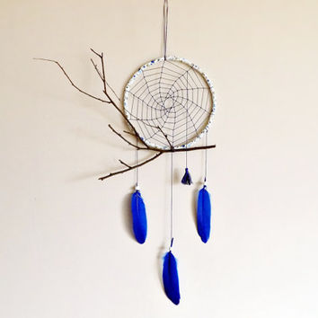 Nursery dreamcatcher, spider web, wall decoration, blue, large, nature, boho, blue dream catcher, twig, nursery decor, handmade, traumfänger