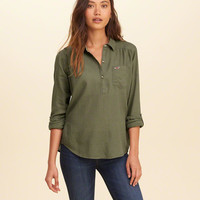 Girls Icon Popover Shirt | Girls New Arrivals | HollisterCo.com