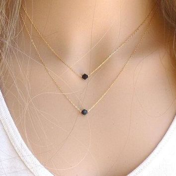 Fashion Gold Silver Black Crystal Glass Geometric Pendant 2 Layer Tassel Necklaces Lariat Double Layering Personalized Minimalist Bib Collar Choker Statement Satellite Chain Necklace Bridesmaid Brides Wedding Dainty Delicate Jewelry Gift