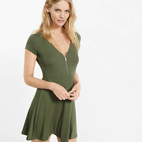 Ribbed Cap Sleeve Zip Front Skater Dress from EXPRESS
