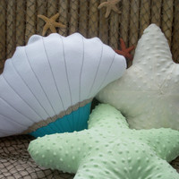 Scallop shell 3D pillow,seashell pillow,white,beige and blue green seashell pillow,nautical pillow,seashore decor,beach house,cottage pillow