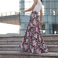 High Waist Floral Skirts Chiffon Maxi Skirt Beautiful Elastic Waist Summer Skirt Floor Length Long Skirt (173)