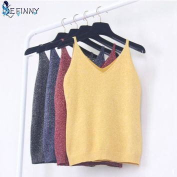 EFINNY Sexy Camis Women Fashion Knitting Vest Top Sleeveless V-Neck Blouse Casual Tank Tops Women Clothes