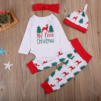 Newborn Boy Girl Clothing Set Long Sleeve Brother Sister Romper Tops Pant Hat Headband Outfit Clothes