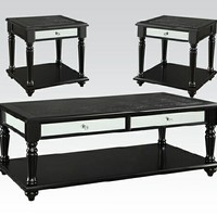 Acme 81505 3 pc caree collection black finish wood and crocodile vinyl covered coffee table and end tables