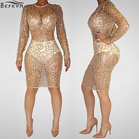 Drop Shipping Sexy Perspective Upscale Diamond Nightclub Sequined Dress 2016 Autumn High Quality O Neck Sheath Sequined Dresses