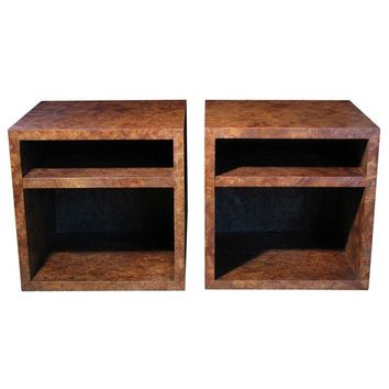 Pre-owned Milo Baughman Olive Burl Cube Tables - A Pair