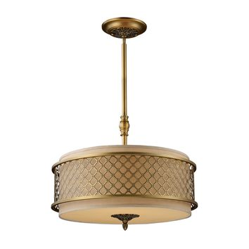 Chester 4 Light Pendant Brushed Antique Brass Frosted Amber Glass & Cream Shade