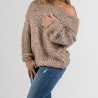 Brown Off The Shoulders Knitted Sweater