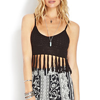Crocheted Tassel Crop Top