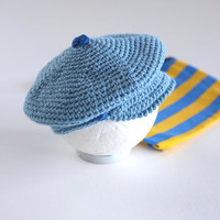 Baby Newsboy Cap Cotton Newborn Photo Props Baby Boy Shower Gift Blue Cotton Infant Newsboy Hat Paperboy Hat Cute Hats by Mila