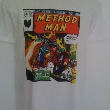 Method Man Comic Style T-shirt Ghostface killah  wu-tang clan mf doom hip hop  rza Raekwon,Deck, U-God, Masta Killa
