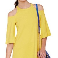 Yellow Trumpet Sleeve Off-shoulder Loose Mini Dress