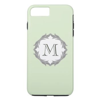 Monogram Floral Leaves Pattern Frame Light Green iPhone 7 Plus Case