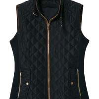 Prussian Blue Cotton-padded Zipper Detail Waistcoat