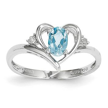 14k White Gold Genuine Blue Topaz & Diamond Heart Ring