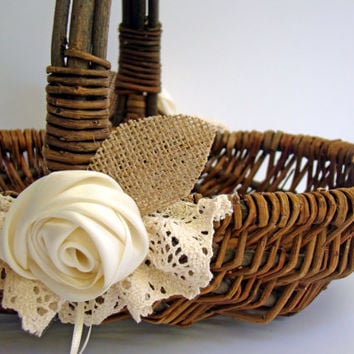 Wedding Flower Basket Flower Girl Rustic Ivory Burlap