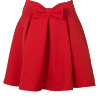 Persun Women Red Bowknot Waist Pleat Detail Skater Skirt