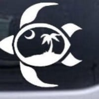 Sea Turtle Palmetto Palm Tree Moon Animals Car Window Wall Laptop Decal Sticker -- White 6in X 6in