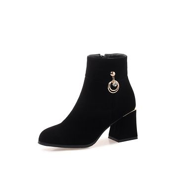 Suede High Heels Short Boots Winter Women Shoes 5789