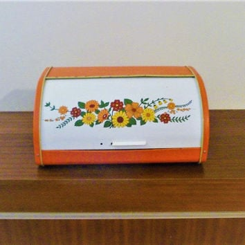 Vintage Retro 1960s Psychedelic Flower Power Metal Bread Bin Orange / White / Floral Tin Bread Box / Kitchenalia