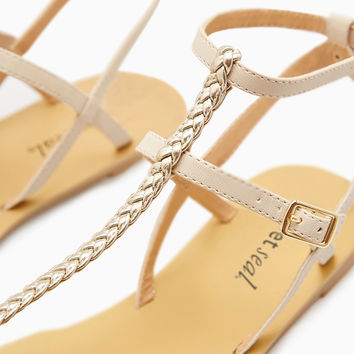 Metallic Double Ankle Strap Sandals | Wet Seal