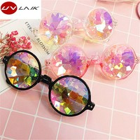 UVLAIK Round Kaleidoscope Sunglasses Men Women Celebrity Party Eyewear Colorful Kaleidoscope Glasses