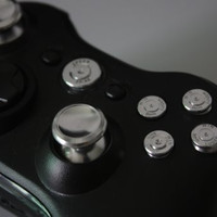 E-MODS GAMING® New Xbox 360 Metal Silver 9mm ABXY/Guide bullet buttons & Metal thumbsticks Kit for XBOX 360 Controller