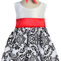 Velvet Flocked Damask on White Taffeta Dress with Red Sash & Headband (Baby Girls)