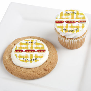 Hot Diggity Dog - Personalized Dog Party Edible Cupcake Toppers - 12 ct