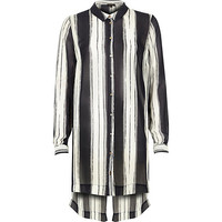 River Island Womens Navy stripe longline shirt