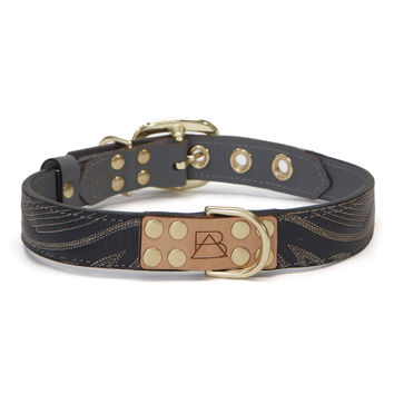 Gray Dog Collar with Navy Leather + White Stitching