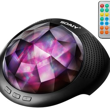 SOAIY Northern Light Projector & Sleep Sound Machine with Bluetooth, Remote, Timer, Black