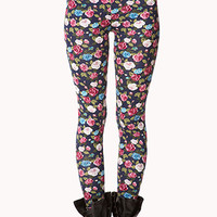FOREVER 21 Garden Floral Print Leggings Cream/Red X-Small