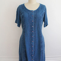 Vintage 90s Soft Dark Denim Cotton Country Dress // Long Embroidered Folk Dress