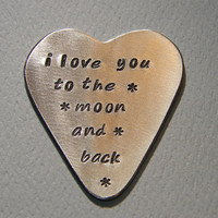 Guitar Pick Aluminum Handmade Heart Shape with Love to the Moon and Back