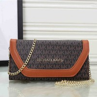 """Michael Kors"" Casual Fashion Multicolor Letter Long Section Three Fold Wallet Metal Chain Single Shoulder Messenger Bag Women MK Purse Clutch"