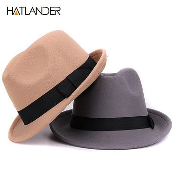 Wool hat for women men Jazz caps gambler church bowler hat winter top hats