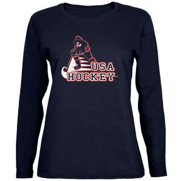 ESBGQ9 Fast Hockey Player Country USA Womens Long Sleeve T Shirt