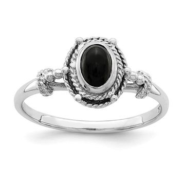 Sterling Silver Black Oval Onyx Stone Ring