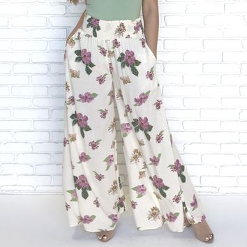 Floral Approach Wide Leg Trouser Pants