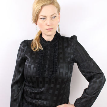 Vintage - 80s - Satiny Black - Ruffled High Collar - Puffy Long Sleeve - Poet - Goth - Blouse - Top