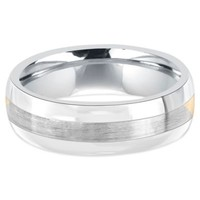 Stainless Steel and 14K White Gold Brushed Center Men's Comfort-Fit Wedding Band