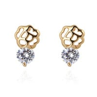 Flower and Rhinestone Earrings