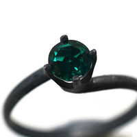 Minimalist Ring, Emerald Ring, Black Engagement Ring, Oxidized Silver Ring, Emerald Jewelry, Handforged Artisan Ring